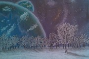 Sci-fi Pastels Prints - Fantasy Landscape Print by George Jewell