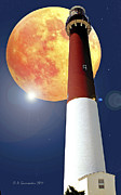 Barnegat Light Posters - Fantasy Lighthouse and Full Moon Poster Image Poster by A Gurmankin