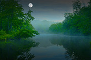 Moonlit Night Photos - Fantasy Moon over Misty Lake by Geoffrey Coelho
