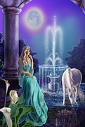 Fountain Print Prints - Fantasy  Moonlight garden with unicorn Print by Gina Femrite