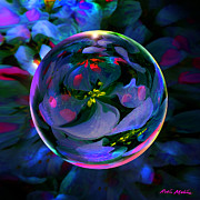 Violet Art Digital Art Prints - Fantasy Orb Impromtu Print by Robin Moline