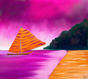 African-american Digital Art Prints - Fantasy Sailing Print by Anita Lewis
