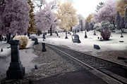 Autumn Prints Posters - Fantasy Surreal Infrared Graveyard With Railroad Tracks - No Rest For The Dead Poster by Kathy Fornal