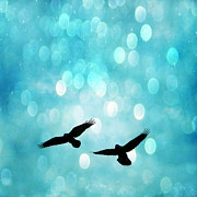 Gothic Crows Posters - Fantasy Surreal Ravens Flying - Aquamarine Blue Bokeh Sparkling Lights Poster by Kathy Fornal
