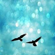 Fantasy Surreal Ravens Flying - Aquamarine Blue Bokeh Sparkling Lights Print by Kathy Fornal