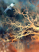 Fantasy Tree Art Prints - Fantasy Surreal Trees and Seagull Flying Print by Kathy Fornal