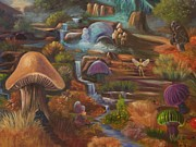 Blue Mushrooms Painting Posters - Fantasy World Poster by Sue Stake
