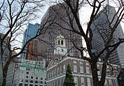 Architecture Greeting Cards Prints - Fanueil Hall at Christmas Print by Kathy Yates