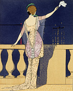 Balcony Posters - Farewell at Night Poster by Georges Barbier