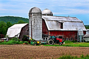 Farming Barns Digital Art Posters - Farm And Tractor Poster by Christina Rollo