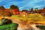 Autumn Farm Scenes Prints - Farm - Barn -  A walk in the country Print by Mike Savad