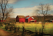 Morning Prints - Farm - Barn - Just up the path Print by Mike Savad