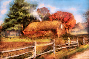 Fence Digital Art Prints - Farm - Barn - Our Cabin Print by Mike Savad
