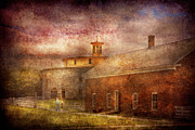 Stone House Prints - Farm - Barn - Shaker Barn  Print by Mike Savad