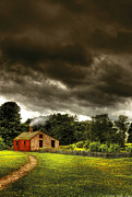 Green Field Posters - Farm - Barn - Storms a comin Poster by Mike Savad