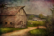 Wooden Metal Prints - Farm - Barn - The old gray barn  Metal Print by Mike Savad