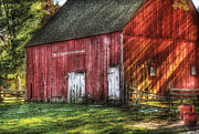 Grass Posters - Farm - Barn - The old red barn Poster by Mike Savad