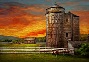 Orange Sky Posters - Farm - Barn - Welcome to the farm  Poster by Mike Savad