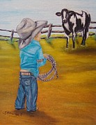 Cow Boy Paintings - Farm Boy by Nancy Stewart