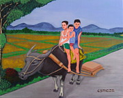 Rice Field Paintings - Farm Boys by Cyril Maza