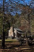 Farm Cabin Cades Cove Tennessee Print by Douglas Barnett
