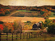 Farms Digital Art Metal Prints - Farm Country Autumn - Sheldon NY Metal Print by Lianne Schneider