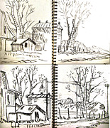 Drawing Painting Originals - Farm Drawing Series 1-2 by Charlie Spear