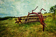 Rake Digital Art Framed Prints - Farm Equipment in a field Framed Print by Amy Cicconi
