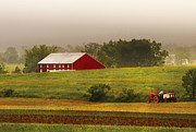 Red Tractors Prints - Farm - Farmer - Tilling the fields Print by Mike Savad