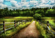 Cloudy Skies Framed Prints - Farm - Fence - Every journey starts with a path  Framed Print by Mike Savad