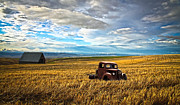 1949 Merc Prints - Farm Field Pickup Print by Steve McKinzie