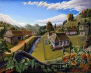 Heartland Paintings - Farm Folk Art Landscape Scene American rural country life farms Americana Appalachian Fairy Tale by Walt Curlee