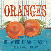 Green Orange Posters - Farm Fresh Fruit 2 Poster by Debbie DeWitt