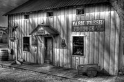 Metamora Metal Prints - Farm Fresh Produce bw Metal Print by Mel Steinhauer