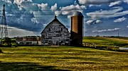Wooden Building Mixed Media Prints - Farm Hdr Print by Todd and candice Dailey