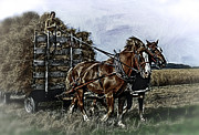 Greyhound Photos - Farm Horses Pulling Wheat Load To Threasher by F Leblanc