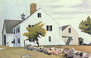 Iconic Painting Posters - Farm House at Essex Massachusetts Poster by Edward Hopper