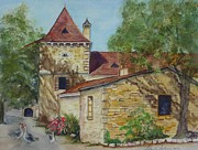 Languedoc Painting Posters - Farm House in Beynac France Poster by Sobeida Salomon