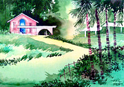 Peaceful Scenery Drawings Framed Prints - Farm House New Framed Print by Anil Nene