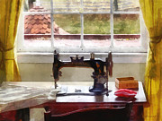 Textile Art - Farm House With Sewing Machine by Susan Savad