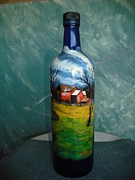 Country Glass Art Originals - Farm in the Countru by Thomas Pittman