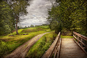 Old Wooden Fence Prints - Farm - Landscape - Jersey crops Print by Mike Savad