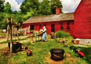 Chickens Prints - Farm - Laundry - Old School Laundry Print by Mike Savad
