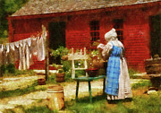 Farm Scenes Posters - Farm - Laundry - Washing Clothes Poster by Mike Savad