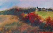 Farm On The Hill At Sunset Print by Joy Nichols