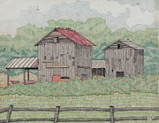Sheds Drawings Framed Prints - Farm Out Buildings Framed Print by Calvert Koerber