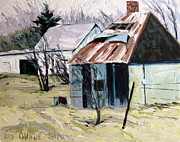 Farm Buildings Painting Originals - Farm Sale by Charlie Spear