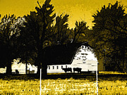 Yellow And Brown Posters - Farm Scene in Yellow Poster by Ann Powell