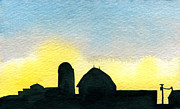 Indiana Scenes Painting Metal Prints - Farm Silhouette 1 Metal Print by R Kyllo
