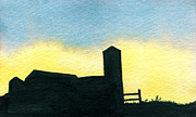 Indiana Scenes Painting Metal Prints - Farm Silhouette 2 Metal Print by R Kyllo